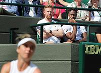Tennis - 2019 Wimbledon Championships - Week Two, Tuesday (Day Eight)<br /> <br /> Women's Singles, Quarter-Final: Elina Svitolina (UKR) v Karolina Muchova (CZE)<br /> <br /> Elina Svitolina coach, Nick Saviano and Boyfriend, Gael Monfils on Court 1.<br /> <br /> COLORSPORT/ANDREW COWIE