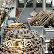 Baskets used for fishing on a boat at Hobart warterfront
