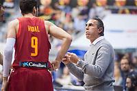 Spain coach Sergio Scariolo talking with Sergi Vidal during FIBA European Qualifiers to World Cup 2019 between Spain and Slovenia at Coliseum Burgos in Madrid, Spain. November 26, 2017. (ALTERPHOTOS/Borja B.Hojas)