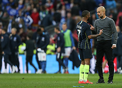Raheem Sterling of Manchester City and Manchester City manager Pep Guardiola have a conversation at full time - Mandatory by-line: Arron Gent/JMP - 06/04/2019 - FOOTBALL - Wembley Stadium - London, England - Manchester City v Brighton and Hove Albion - Emirates FA Cup Semi Final