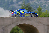 AUTO - WRC 2004 - TURKEY RALLY - KEMER 27/06/2004 - PHOTO : CLAUDE SAULNIER / DIGITALSPORT<br /> N¡ 1 - PETTER SOLBERG - PHILL MILLS / SUBARU IMPREZA WRC - ACTION