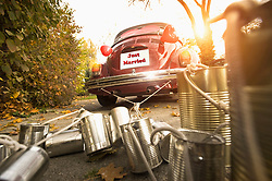 Tin cans attached to wedding car, Bavaria, Germany