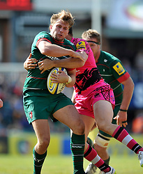 Blaine Scully of Leicester Tigers takes on the London Welsh defence - Photo mandatory by-line: Patrick Khachfe/JMP - Mobile: 07966 386802 25/04/2015 - SPORT - RUGBY UNION - Leicester - Welford Road - Leicester Tigers v London Welsh - Aviva Premiership