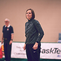 Head Coach, Melanie Sanford of the Regina Cougars during the Women's Volleyball home game on Sat Jan 19 at Centre for Kinesiology, Health & Sport. Credit: Arthur Ward/Arthur Images