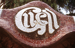 Ceramic sign at entrance to Parc Guell; Barcelona; Catalunya; reading 'Guell' ,