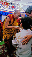 The Dalai Lama greets special guests following ceremonies honoring him atop Mt. Tamalpais near San Francisco, California.