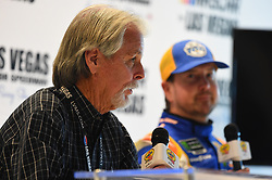 March 1, 2019 - Las Vegas, NV, U.S. - LAS VEGAS, NV - MARCH 01: (L) Craig Keough Star Nursery Owner and Founder and Kurt Busch (1) Chip Ganassi Racing (CGR) Chevrolet Camaro ZL1 answers questions from the media in the ThriveHive Digital Center prior to practice and qualifying for the Monster Energy NASCAR Cup Series Pennzoil 400 on March 1, 2019, at Las Vegas Motor Speedway in Las Vegas, NV. (Photo by Chris Williams/Icon Sportswire) (Credit Image: © Chris Williams/Icon SMI via ZUMA Press)