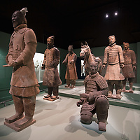 "MILAN, ITALY - JUNE 01:  Terracotta statues from Qin Dynasty found in the graves at Lintong, Xi'an at ""I due Imperi"" exhibition on June 1, 2010 in Milan, Italy. The Exhibition illustrates the birth and development of the Roman Empire and the Empire of the Chinese Qin and Han Dinasties.  (Photo by Marco Secchi/Getty Images)"