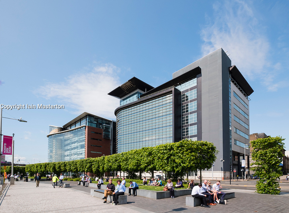 Office workers on lunch break at Broomielaw new business and financial district in Glasgow United Kingdom