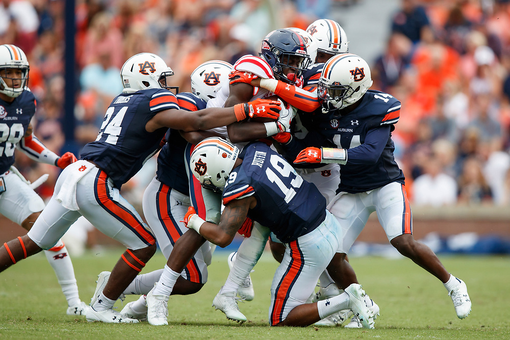 during an NCAA football game, Saturday, October 7, 2017, in Auburn, AL. Auburn won 44-23. (Paul Abell via Abell Images for Chick-fil-A Peach Bowl)