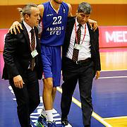 Anadolu Efes's Emircan Kosut during their Turkish Basketball League match Istanbul BSB between Anadolu Efes at Cebeci Arena in Istanbul Turkey on Monday 09 March 2015. Photo by Aykut AKICI/TURKPIX