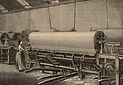 Loom for making Hemp fishing nets. J & W Stuart's factory, Musselburgh, near Edinburgh, Scotland. From 'Great Industries of Great Britain' (London, c1880).  Engraving.