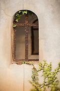 Cross in window at Christian cemetery in Casablanca, Morocco,Cimetière el-Hank.