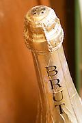 bottle neck of cremant marked brut dom e rominger westhalten alsace france