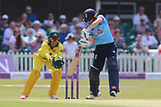 Heather Knight of England (5) crashes four runs through the covers during the Royal London Women's One Day International match between England Women Cricket and Australia at the Fischer County Ground, Grace Road, Leicester, United Kingdom on 4 July 2019.