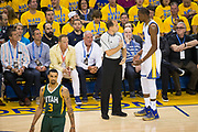 Golden State Warriors forward Kevin Durant (35) talks with a referee after a foul during Game 1 of the Western Conference Semifinals against the Utah Jazz at Oracle Arena in Oakland, Calif., on May 2, 2017. (Stan Olszewski/Special to S.F. Examiner)