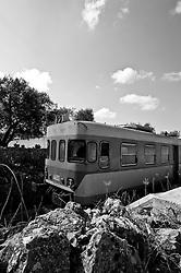 la littorina attraversa le campagne salentine tra rocce, ulivi e fichi d'india riarsi dal sole. Reportage che analizza le situazioni che si incontrano durante un viaggio lungo le linee delle ferrovie Sud Est.