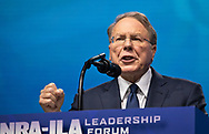 Wayne LaPierre, chief executive officer of the NRA  speaks at the NRA-ILA Leadership Forum during the NRA Annual Meeting & Exhibits on <br /> May 4, 2018 in Dallas, Texas at the Kay Bailey Hutchison Convention Center.