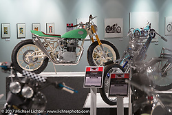Paul Miller's custom custom 1972 Yamaha XS650 in the Old Iron - Young Blood exhibition in the Motorcycles as Art gallery at the Buffalo Chip during the annual Sturgis Black Hills Motorcycle Rally. Sturgis, SD, USA. Wednesday August 9, 2017. Photography ©2017 Michael Lichter.