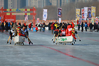 Photo shows people participate in ice dragon boats competition in Shenyang City, northeast China's Liaoning Province, 2 February 2021. The 3rd Shenyang International Ice Dragon Boat Race kicked off on Tuesday in Shenyang to promote winter sports.