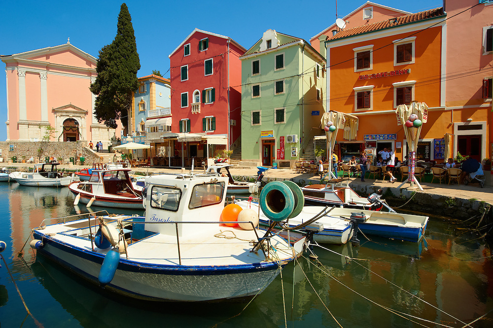 The Picturesque fishing harbour of Veli Lo?inj , Lo?inj Island, Croatia .<br /> <br /> Visit our CROATIA HISTORIC SITES PHOTO COLLECTIONS for more photos to download or buy as wall art prints https://funkystock.photoshelter.com/gallery-collection/Pictures-Images-of-Croatia-Photos-of-Croatian-Historic-Landmark-Sites/C0000cY_V8uDo_ls