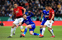 Leicester City's Harvey Barnes (centre) battles for the ball with Manchester United's Nemanja Matic (left) and Ander Herrera during the Premier League match at the King Power Stadium, Leicester.