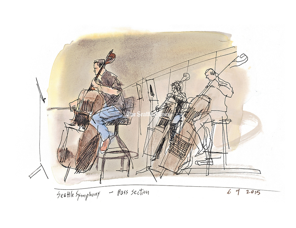 Seattle Symphony Bass Section (Gabriel Campanrio / The Seattle Times)