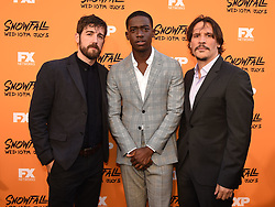 LOS ANGELES - JUNE 26: (L-R) Carter Hudson, Damson Idris, and Sergio Peris-Mencheta attends FX Networks and FX Productions Premiere event for 'Snowfall' at The Theatre at the Ace Hotel on June 26, 2017 in Los Angeles, California. (Photo by Frank Micelotta//FX/PictureGroup) *** Please Use Credit from Credit Field ***