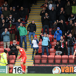 TELFORD COPYRIGHT MIKE SHERIDAN 16/3/2019 - Telford fans enjoy Macauley Bonne of Orient's miss during the FA Trophy semi final first leg fixture between Leyton Orient and AFC Telford United at Brisbane Road.