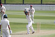 Greg Hay of CD is bowled by Matt Henry of Canterbury. Canterbury vs. Central Districts Day 1, 1st round of the 2021-2022 Plunket Shield cricket competition at Hagley Oval, Christchurch, on Saturday 23rd October 2021.<br /> © Copyright Photo: Martin Hunter/ www.photosport.nz