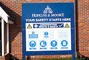 Site safety notice sign on new housing development by Hopkins and Moore at Snape, Suffolk, England