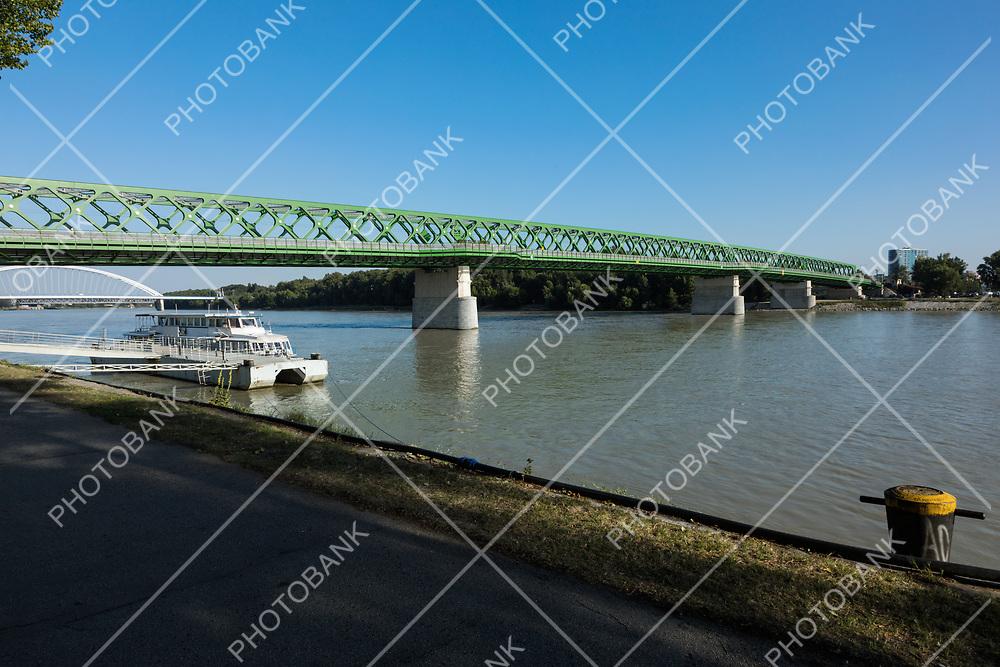 Old green bridge in Bratislava