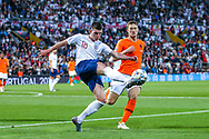 England midfielder Declan Rice (West Ham) clears the ball away from Netherlands Defender Matthijs de Ligt (Ajax) during the UEFA Nations League semi-final match between Netherlands and England at Estadio D. Afonso Henriques, Guimaraes, Portugal on 6 June 2019.