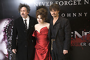 TIM BURTON, HELENA BONHAM CARTER AND JOHNNY DEPP, European Film premiere of Sweeny Todd,  Odeon Leicester Sq. and party afterwards at the Royal Courts of Justice. 10 January 2008. -DO NOT ARCHIVE-© Copyright Photograph by Dafydd Jones. 248 Clapham Rd. London SW9 0PZ. Tel 0207 820 0771. www.dafjones.com.
