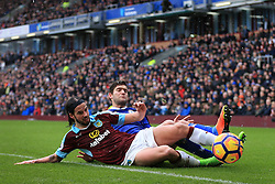 12th February 2017 - Premier League - Burnley v Chelsea - George Boyd of Burnley battles with Marcos Alonso of Chelsea - Photo: Simon Stacpoole / Offside.