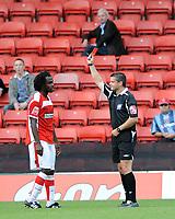 Watford v Charlton Athletic Championship 16.08.08 <br /> Photo: Tim Parker Fotosports International<br /> Kelly Youga is sent off for Charlton Athletic by referee I G Williamson
