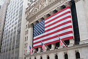 Giant US flag outside the New York Stock Exchange on Wall Street on 20th May 2007 in New York City, United States.