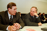 25 JAN 2000, BERLIN/GERMANY:<br /> Michael Glos, CSU, Stellv. CDU/CSU Fraktionsvorsitzender, und Wolfgang Schäuble, CDU, CDU/CSU Fraktionsvorsitzender, im Gespräch, vor Beginn der CDU/CSU Fraktionssitzung, Deutscher Bundestag, Reichstag<br /> IMAGE: 20000125-02/02-02<br /> KEYWORDS: Wolfgang Schaeuble