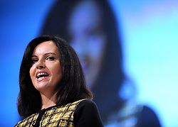 © Licensed to London News Pictures. 29/09/2011. LONDON, UK. Caroline Flint MP, Shadow Secretary of State for Communities and Local Government addresses The Labour Party Conference in Liverpool today (29/09/11). Photo credit:  Stephen Simpson/LNP
