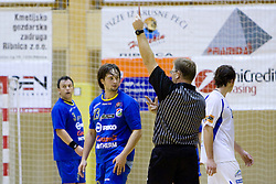 Ales Vidic of Ribnica gets red card at the handball match between RD Ribnica Riko-hise and RK Prevent of MIK 1st League 2009 - 2010,  on October 04, 2009, in Ribnica, Slovenia.   (Photo by Vid Ponikvar / Sportida)