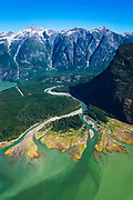 Aerial photo of river mouth. Dean River, BC.