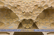 Muqarnas (decorative corbel) Jameh Mosque aka The Congregational Mosque of Isfahan built from 771 to the end of the 20th century. Isfahan, Iran