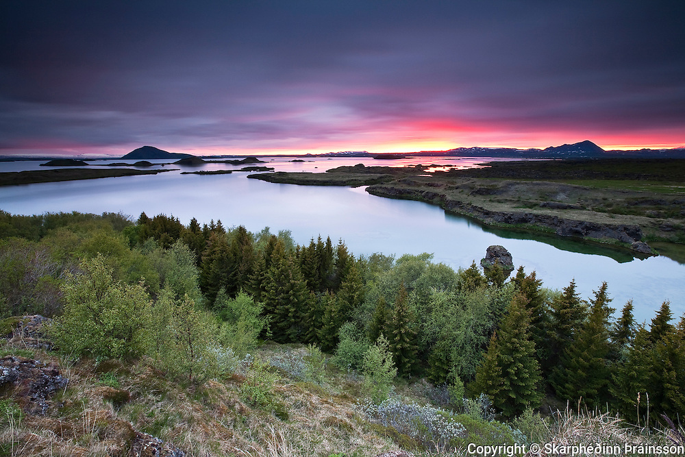Sunrise at lake Mývatn, north Iceland