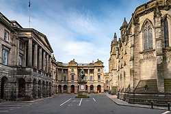 View of Parliament Square in Edinburgh Old Town, home of Supreme Court and Court of Session in Edinburgh, Scotland, UK