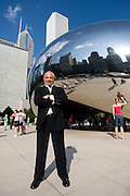 George Efstathiou , Managing Partner at architecture firm Skidmore, Owings & Merrill LLP poses in Millennium Park in Chicago near his office.   Efstathiou managed the construction of the Burj Khalifa, the tallest building in the world.