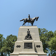 General Sherman Monument from Side. The General William Tecumseh Sherman Monument sits in President's Park next to the White House and directly in front of the southern face of the Department of the Treasury Building in Washington DC. At its heart is an elevated statue of General Sherman on horseback. At the base of the column are statues of soldiers depicting the different armed services.