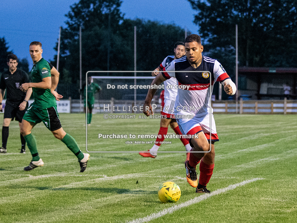 DARTFORD, UK - AUGUST 01: Aaron Rhule, of Cray Wanderers FC, attacks on the edge of the area during the pre-season friendly match between Phoenix Sports FC and Cray Wanderers FC at The Mayplace Ground on August 1, 2019 in Dartford, UK. <br /> (Photo: Jon Hilliger)