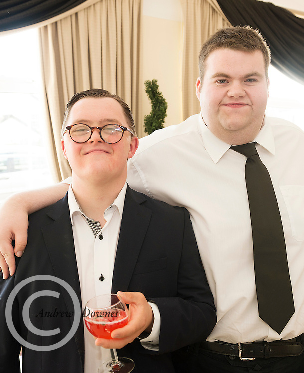 The Ability West Best Buddies Ball at the Menlo Park Hotel, Galway. Students from GMIT and NUIG buddy up with Ability West Service users for friendships that last a lifetime celebrated at this gala ball.<br /> Enjoying the night were Sean Ryan and Oliver Flanagan<br />  Photo:Andrew Downes, xposure.
