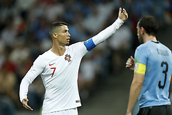 (L-R) Cristiano Ronaldo of Portugal, Diego Godin of Uruguay during the 2018 FIFA World Cup Russia round of 16 match between Uruguay and at the Fisht Stadium on June 30, 2018 in Sochi, Russia