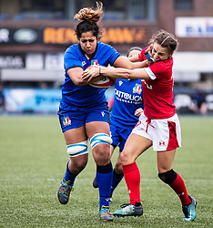 Sara Tounesi of Italy under pressure from Jasmine Joyce of Wales<br /> <br /> Photographer Simon King/Replay Images<br /> <br /> Six Nations Round 1 - Wales Women v Italy Women - Saturday 2nd February 2020 - Cardiff Arms Park - Cardiff<br /> <br /> World Copyright © Replay Images . All rights reserved. info@replayimages.co.uk - http://replayimages.co.uk